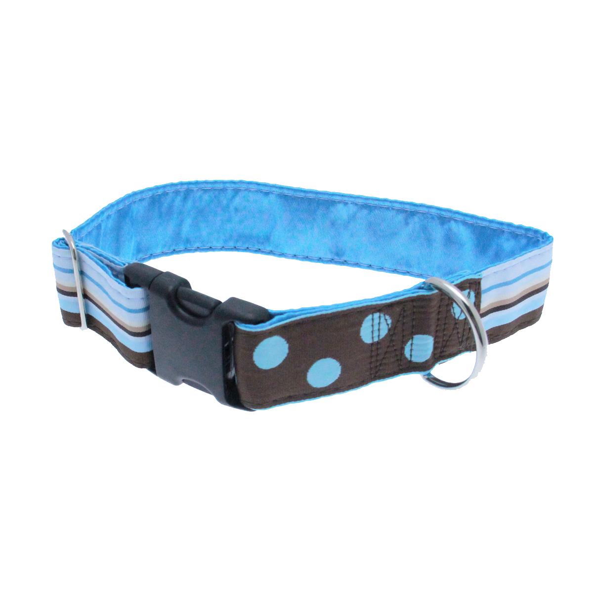 Cafe Mocha Wide Satin Lined Dog Collar