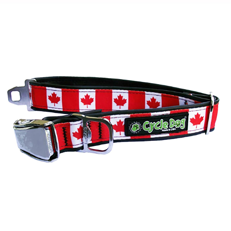 Canada Maple Leaf Metal Latch Dog Collar by Cycle Dog