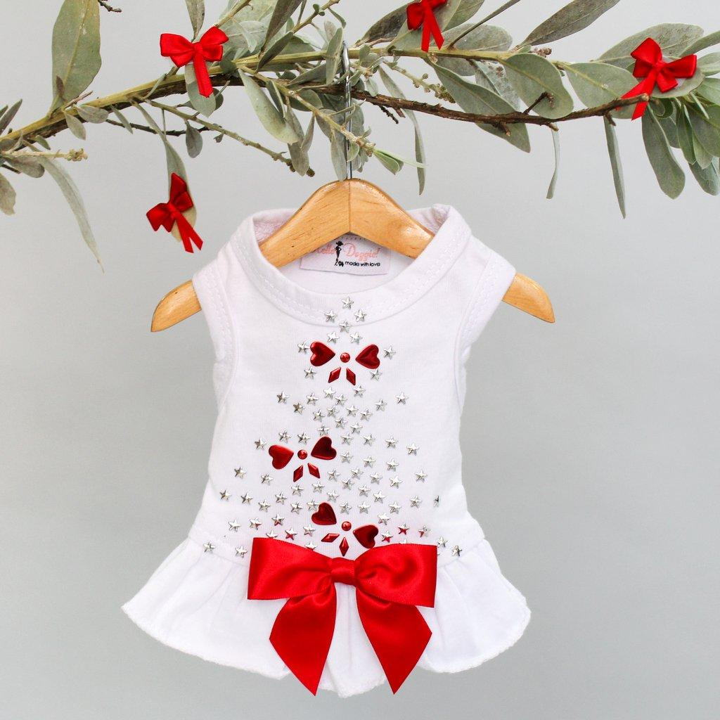 Holiday Sparkle Dog Dress by Hello Doggie - White