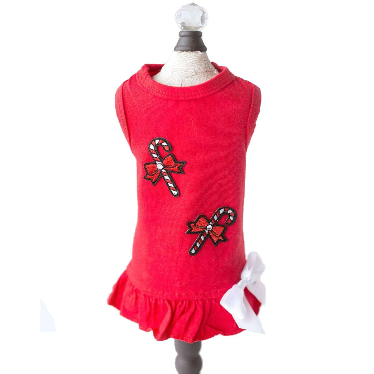 Candy Cane Dog Dress by Hello Doggie - Red
