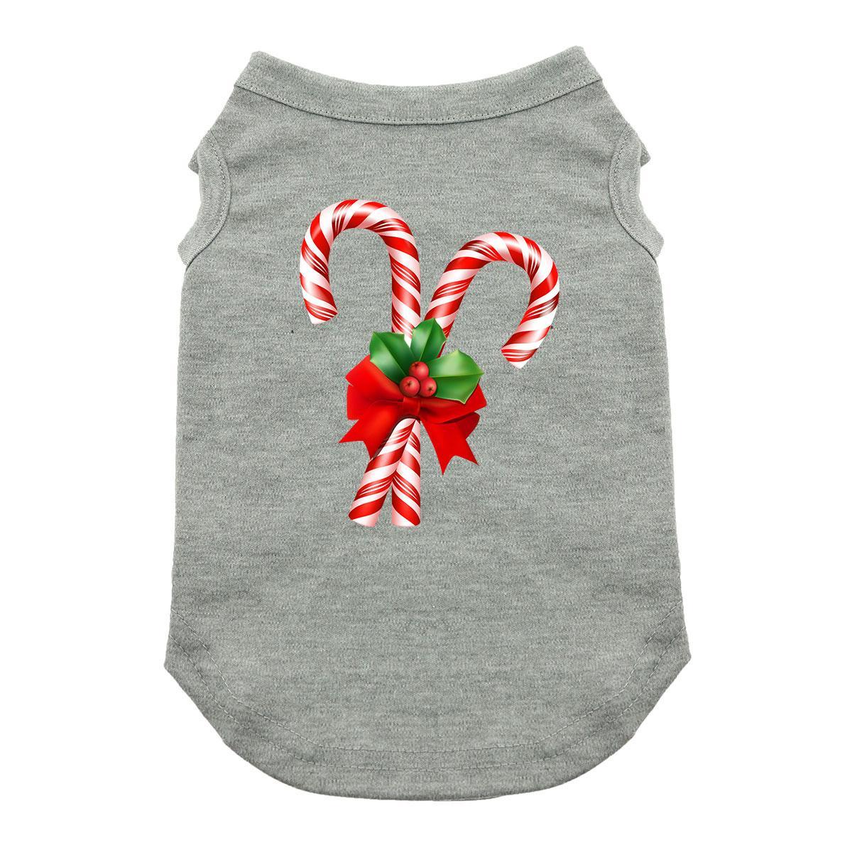 Candy Cane Holiday Dog Shirt - Gray