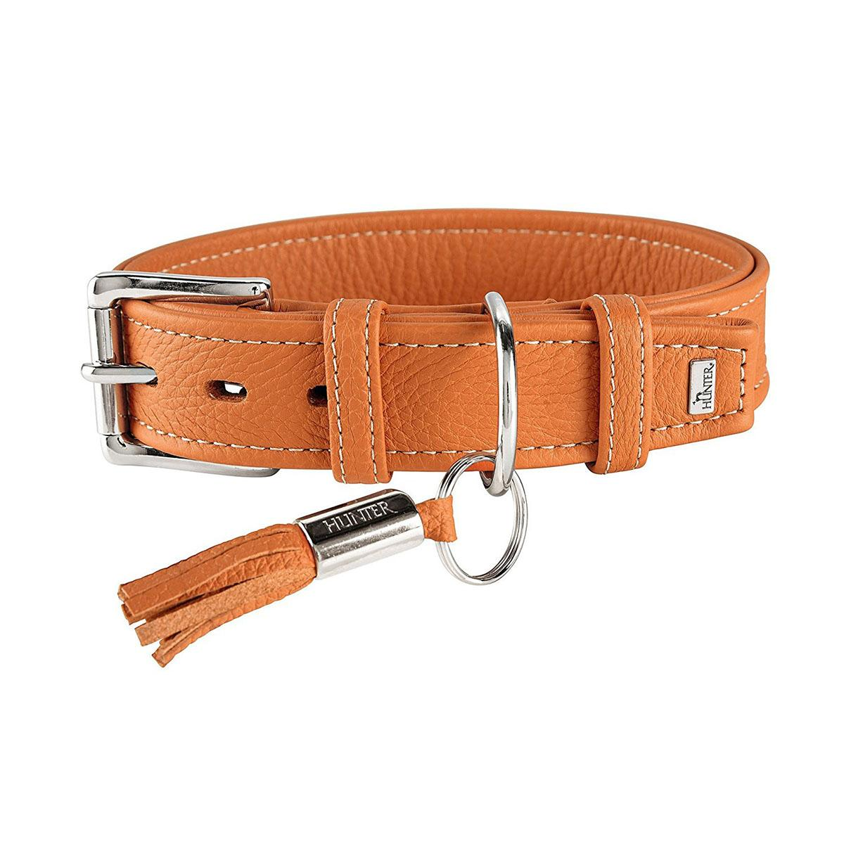 Cannes Leather Dog Collar by HUNTER - Orange
