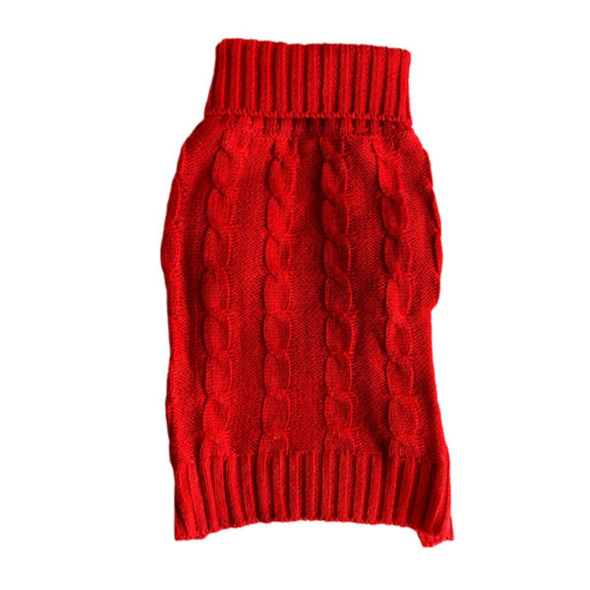 Casual Canine Cable Knit Dog Sweater - Holiday Red