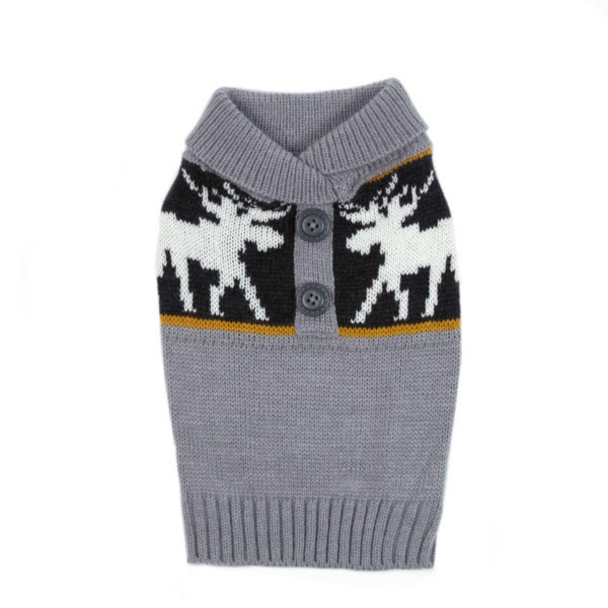 Casual Canine Moose Print Dog Sweater - Gray