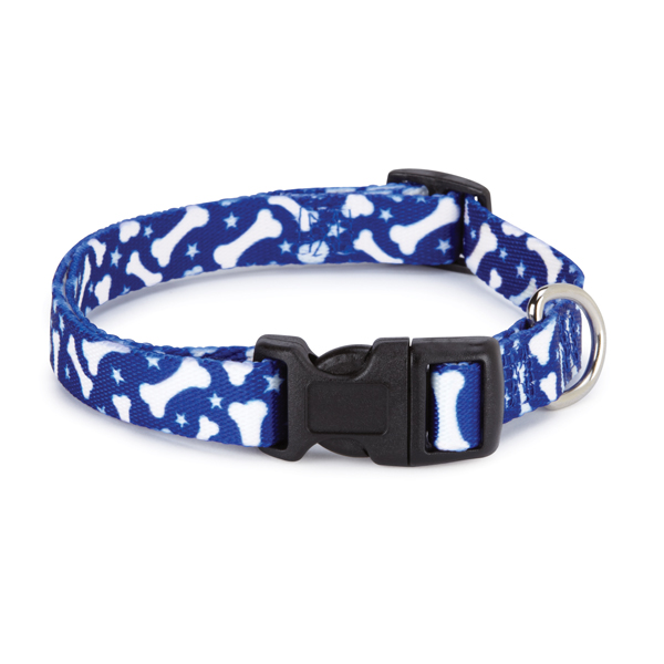 Casual Canine Pooch Pattern Dog Collar - Blue with Bones
