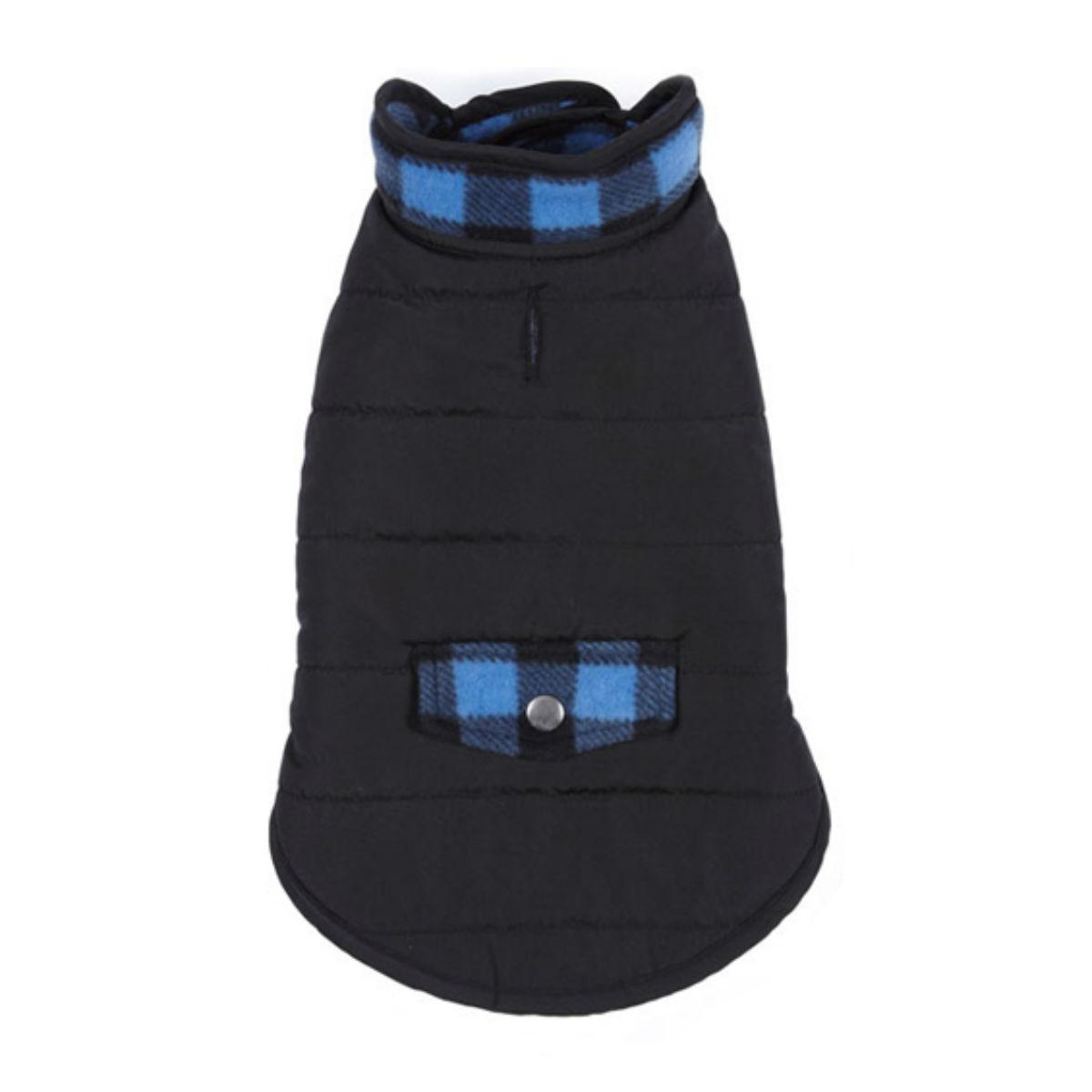 Casual Canine Reversible Dog Parka - Blue Plaid