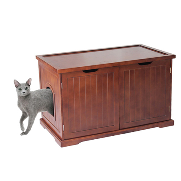 Merry Products Cat Washroom Bench - Walnut