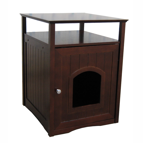 Merry Products Cat Washroom and Night Stand - Walnut