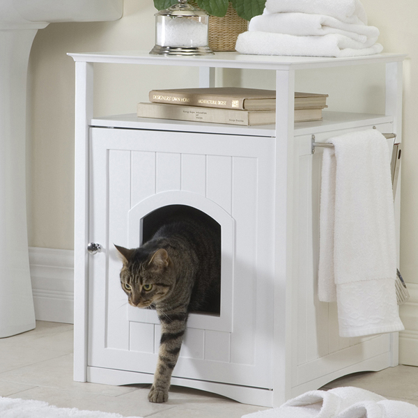 Merry Products Cat Washroom and Night Stand - White