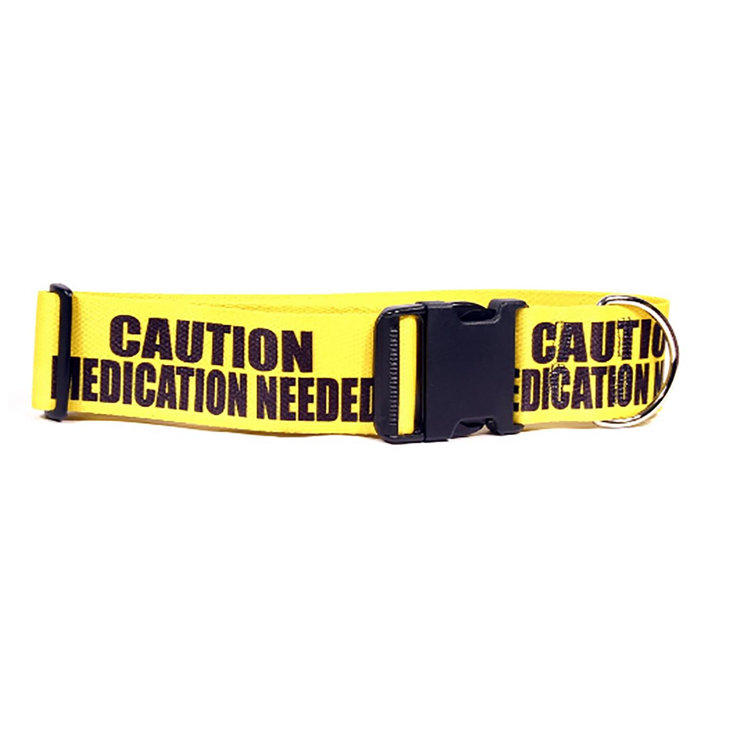 Caution Dog Collar by Yellow Dog - Medication Needed