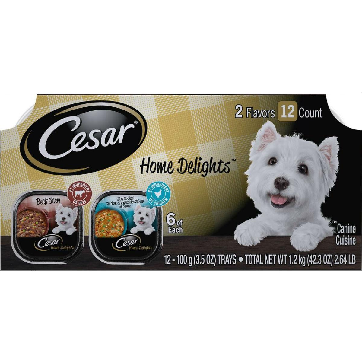 Cesar Home Delights Wet Dog Food - Variety Pack Beef Stew/Chicken & Vegetable