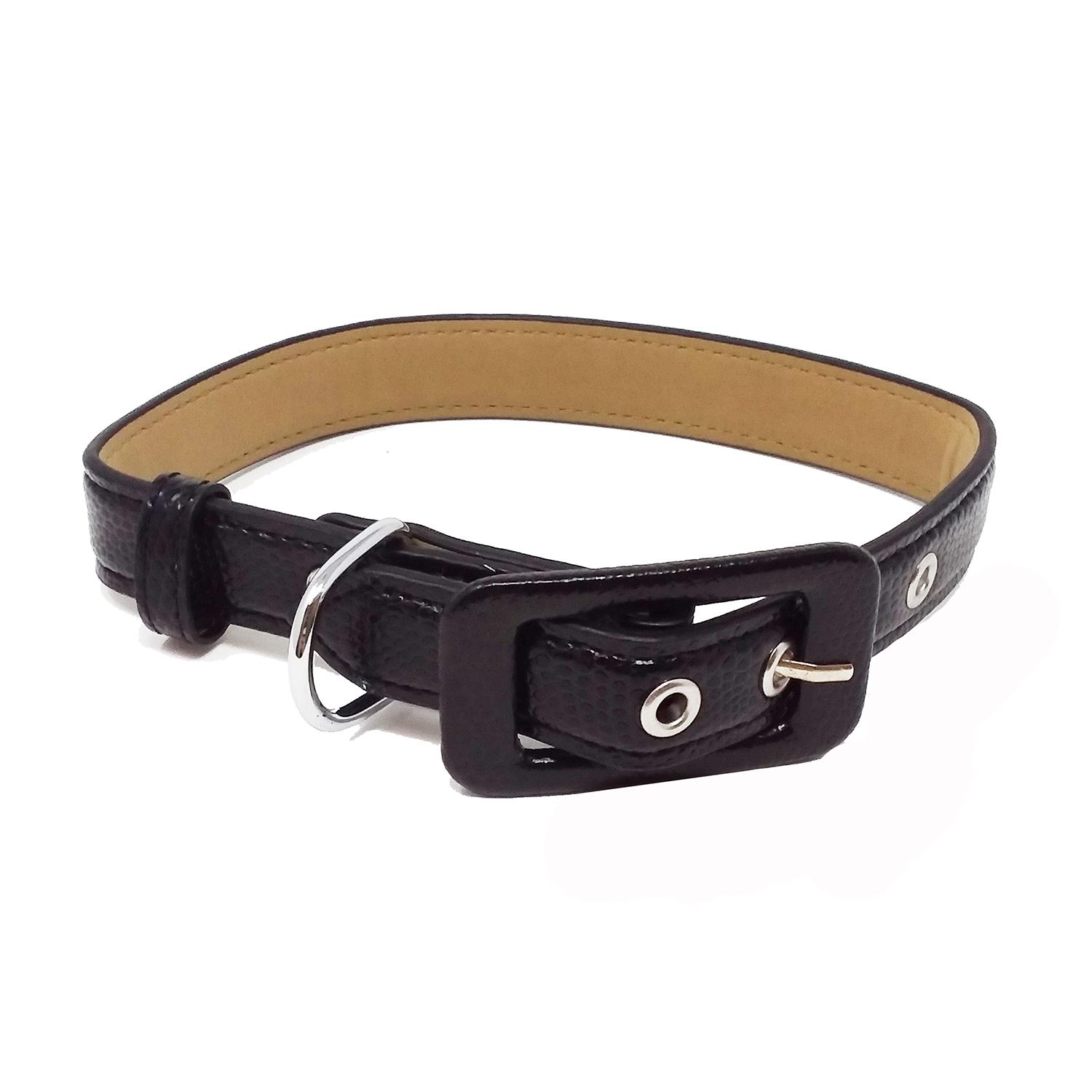 Pebbled Faux Leather Dog Collar by Cha-Cha Couture - Black