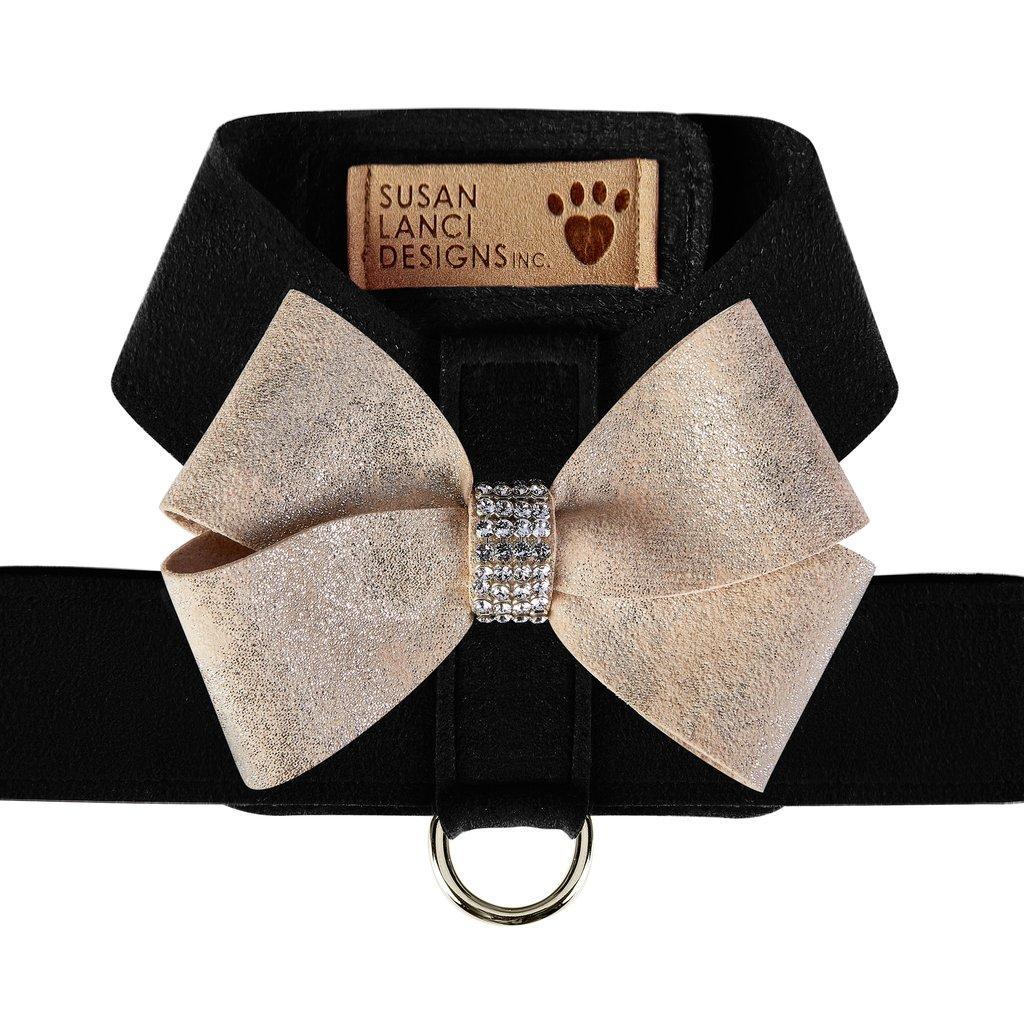 Champagne Glitzerati Nouveau Bow Tinkie Dog Harness by Susan Lanci - Black