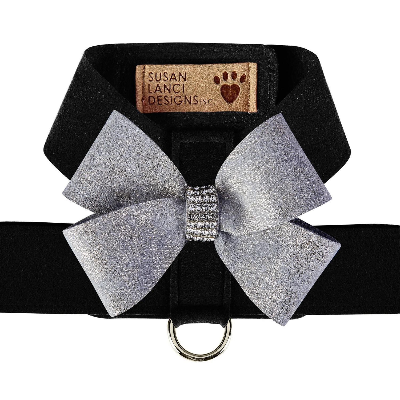 Platinum Glitzerati Nouveau Bow Tinkie Dog Harness by Susan Lanci - Black