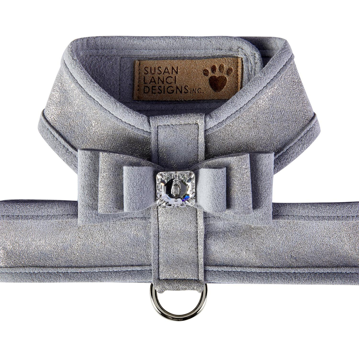 Platinum Glitzerati Tinkie Dog Harness with Really Big Bow and Platinum Trim by Susan Lanci