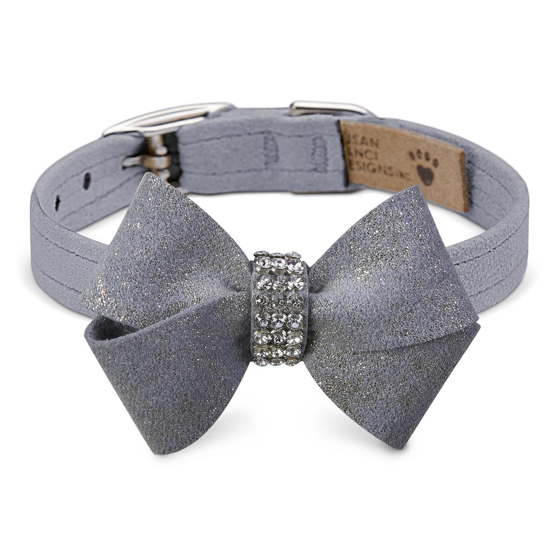 Platinum Glizerati Nouveau Bow Luxury Dog Collar by Susan Lanci - Platinum