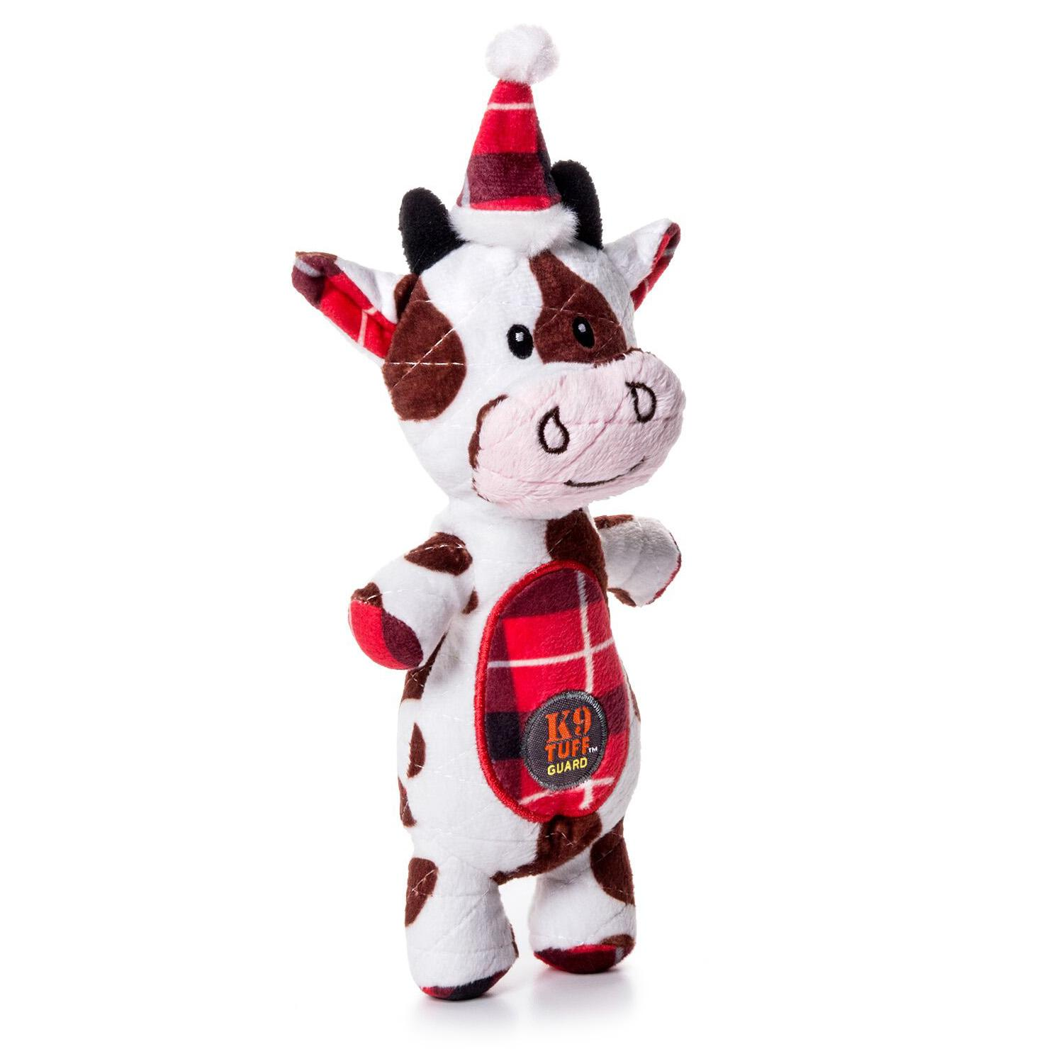 Charming Christmas Snow Bums Durable Dog Toy - Cow