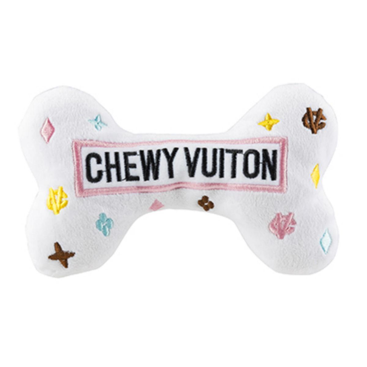 White Chewy Vuiton Bone Dog Toy