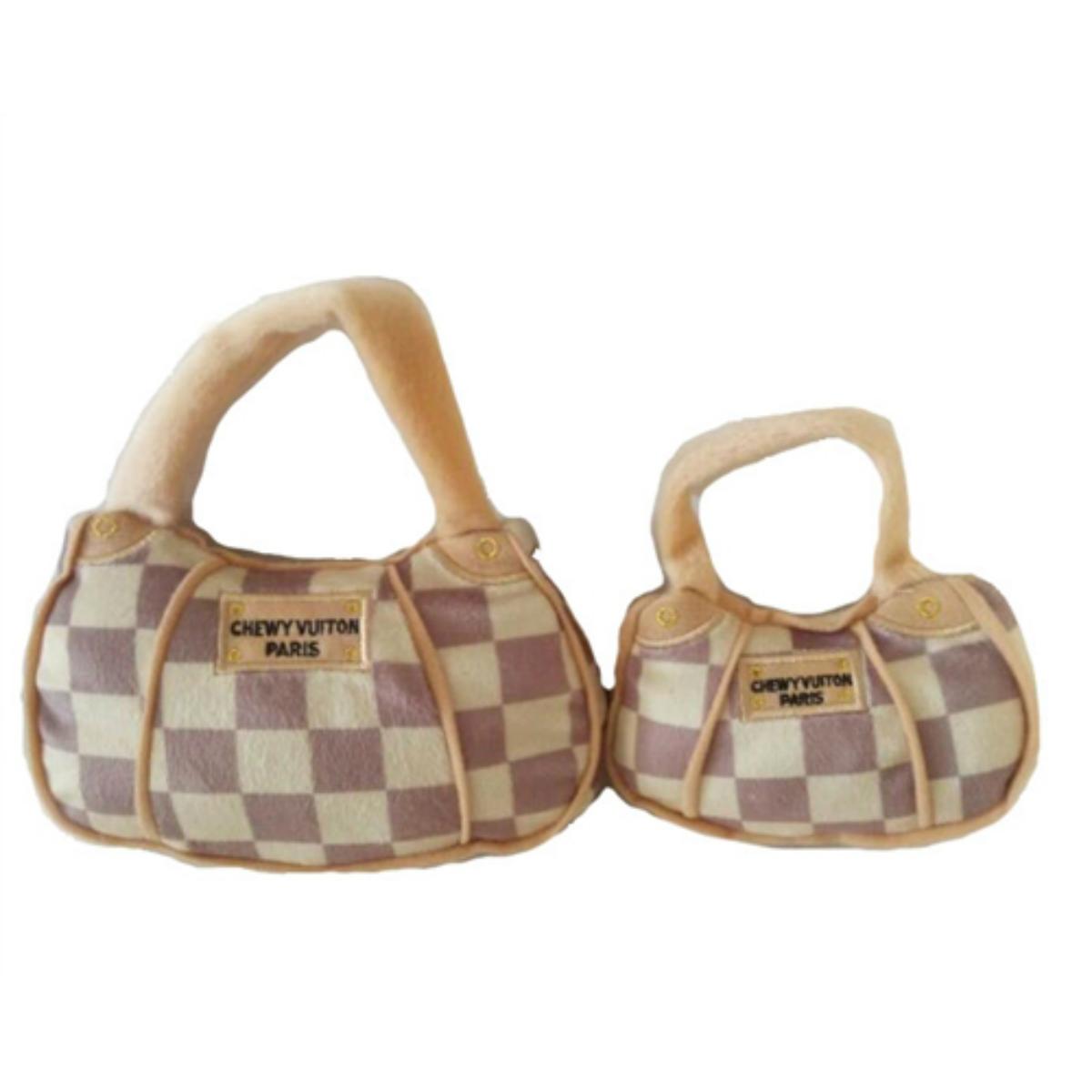 Checker Chewy Vuiton Handbag Plush Dog Toy