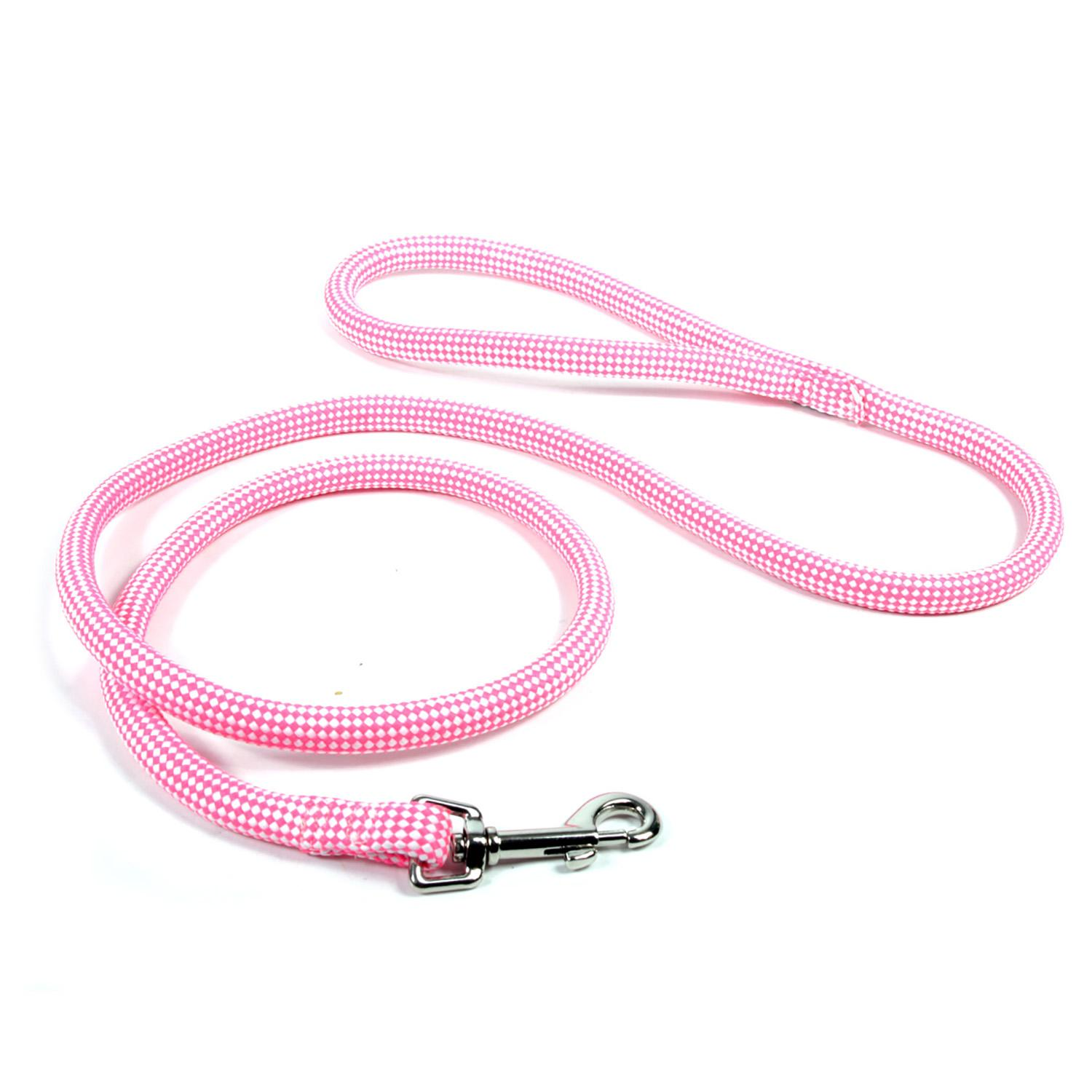 Checkerboard Braided Dog Leash by Yellow Dog - Pink