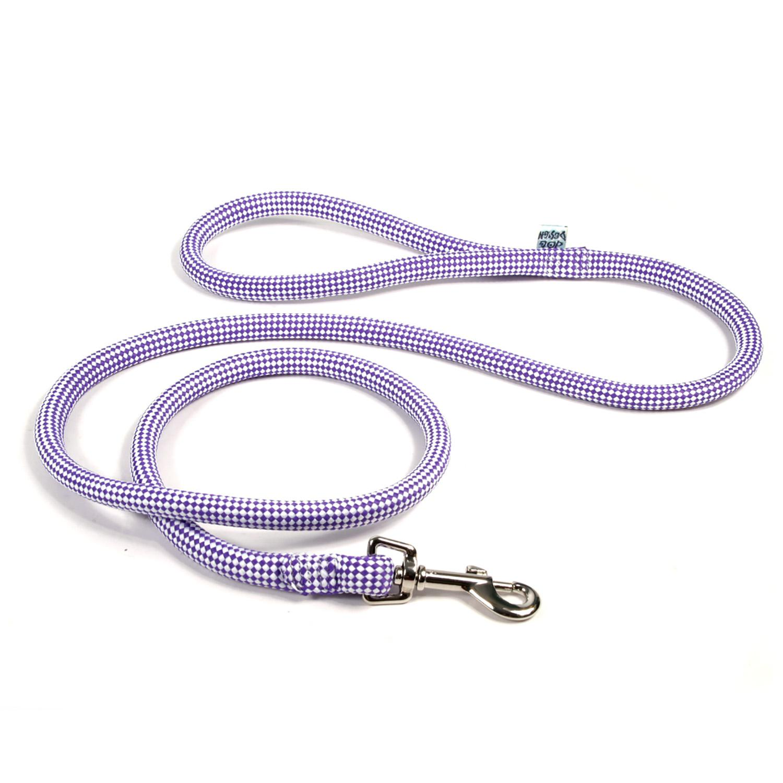 Checkerboard Braided Dog Leash by Yellow Dog - Purple