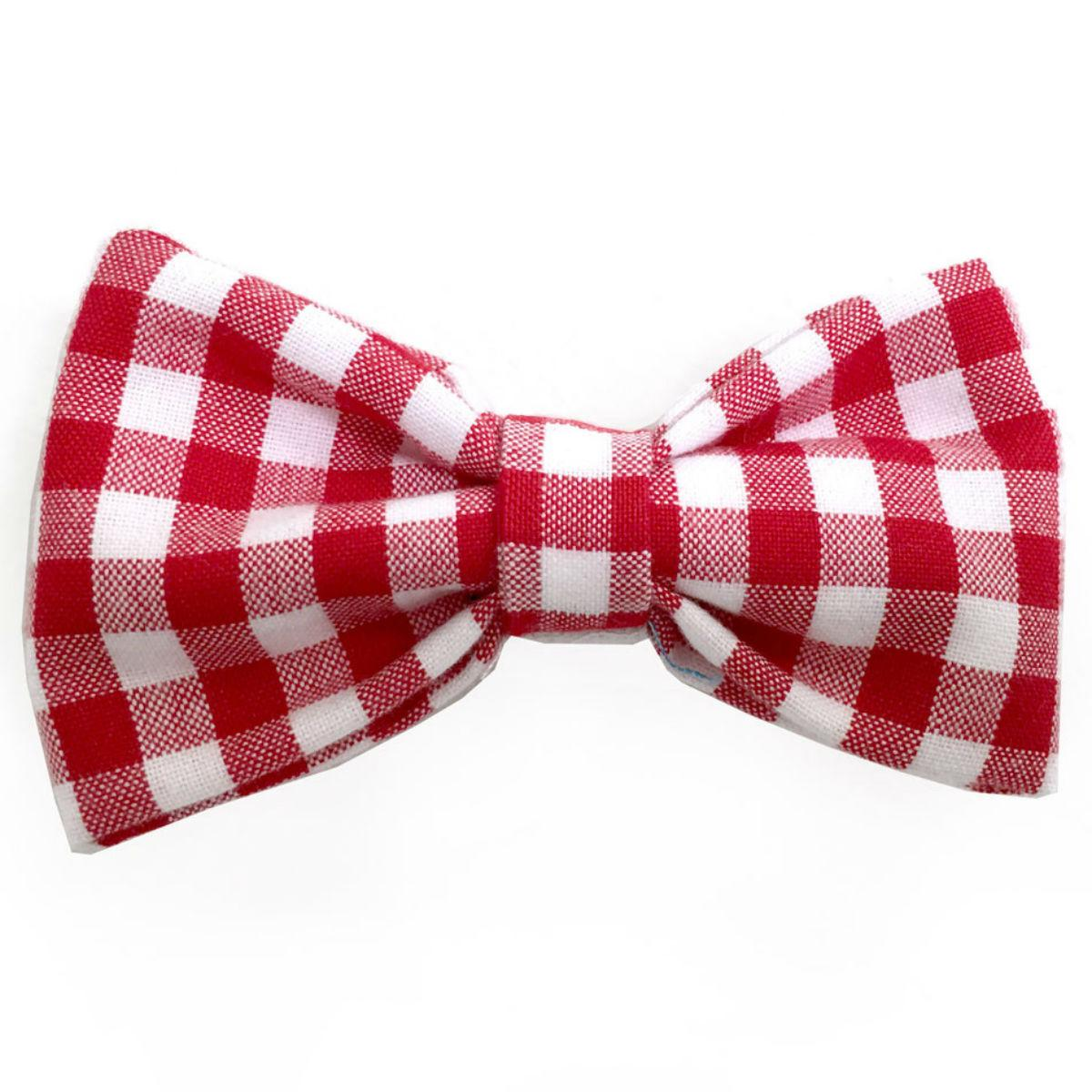 Gingham Dog Bow Tie from Daisy and Lucy - Red