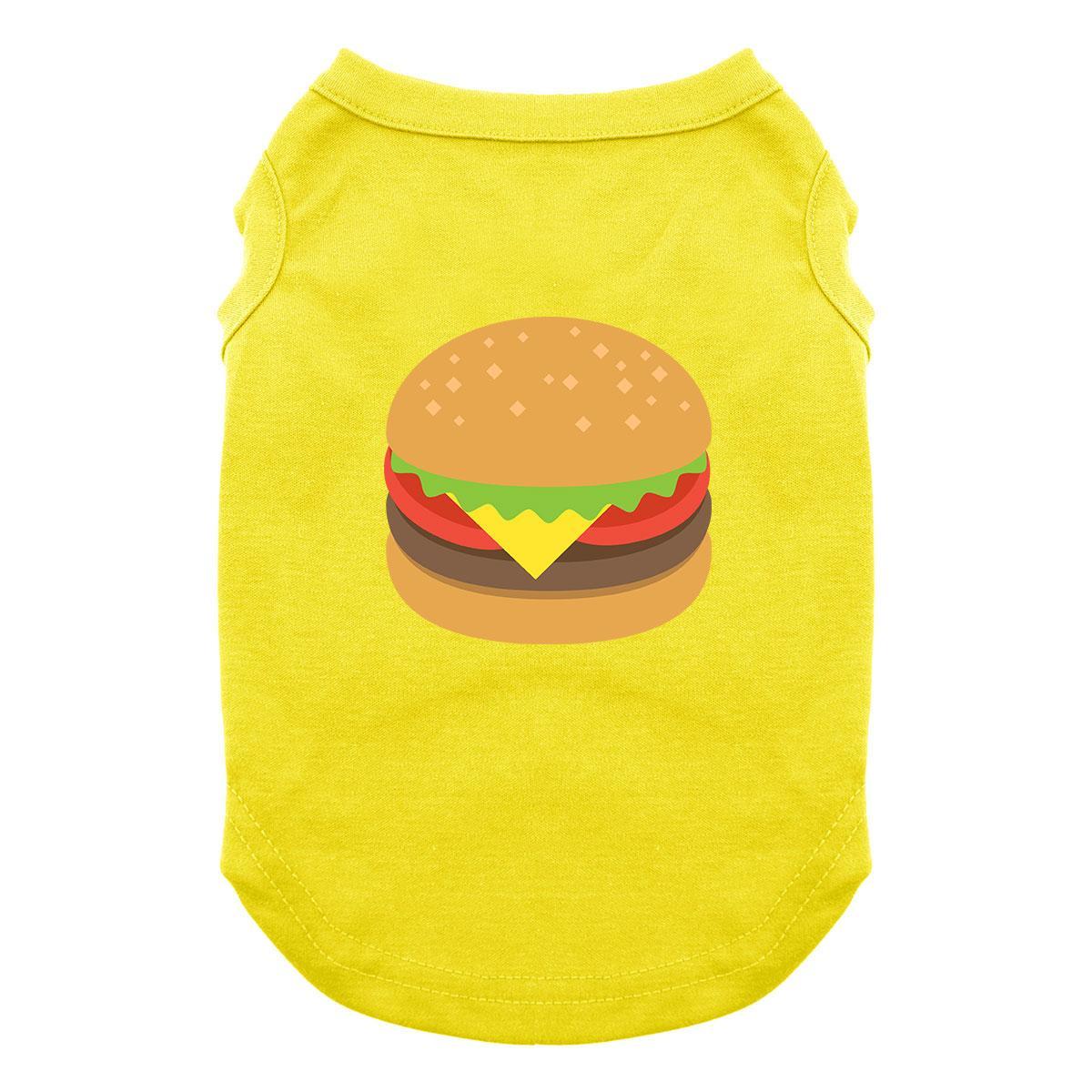 Cheeseburger Emoji Dog Shirt - Yellow
