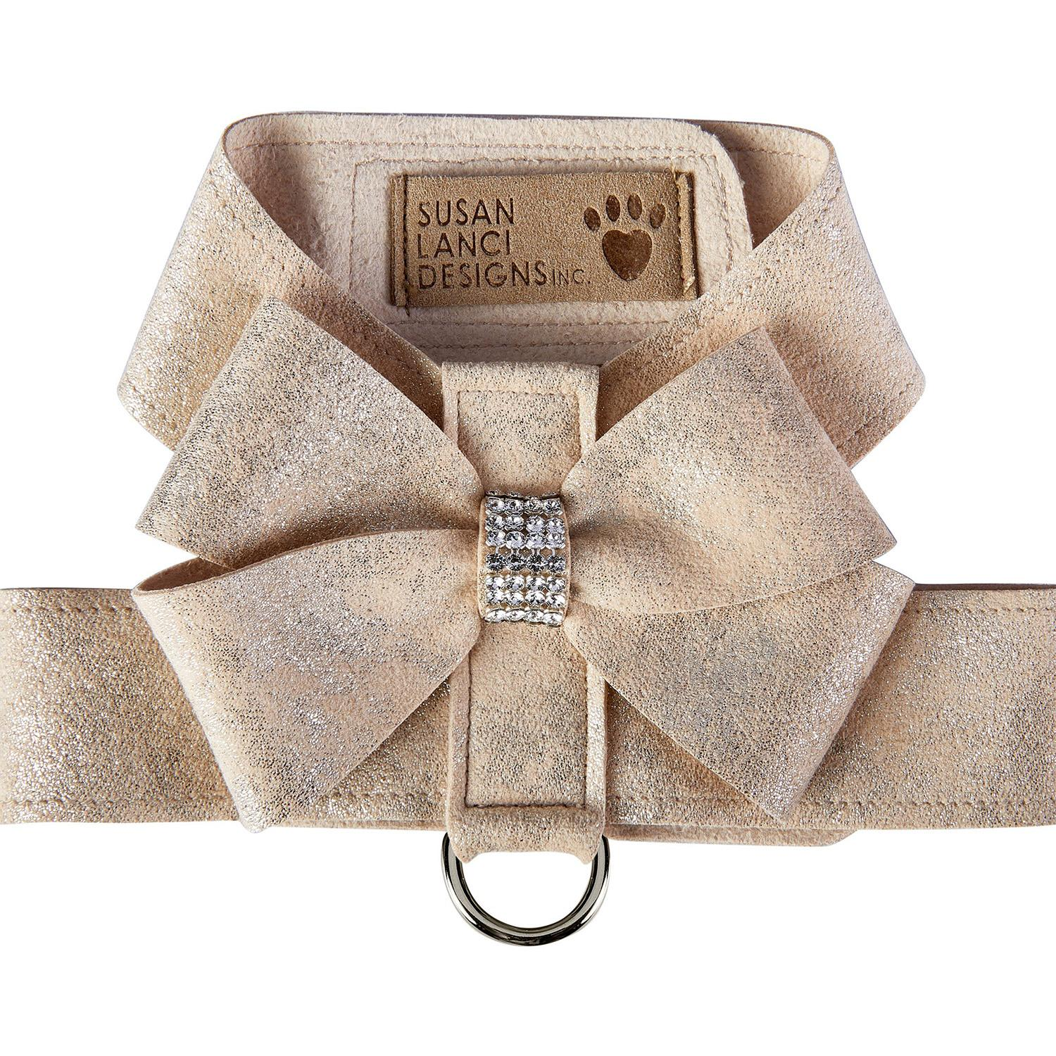 Champagne Glitzerati Nouveau Bow Tinkie Dog Harness by Susan Lanci