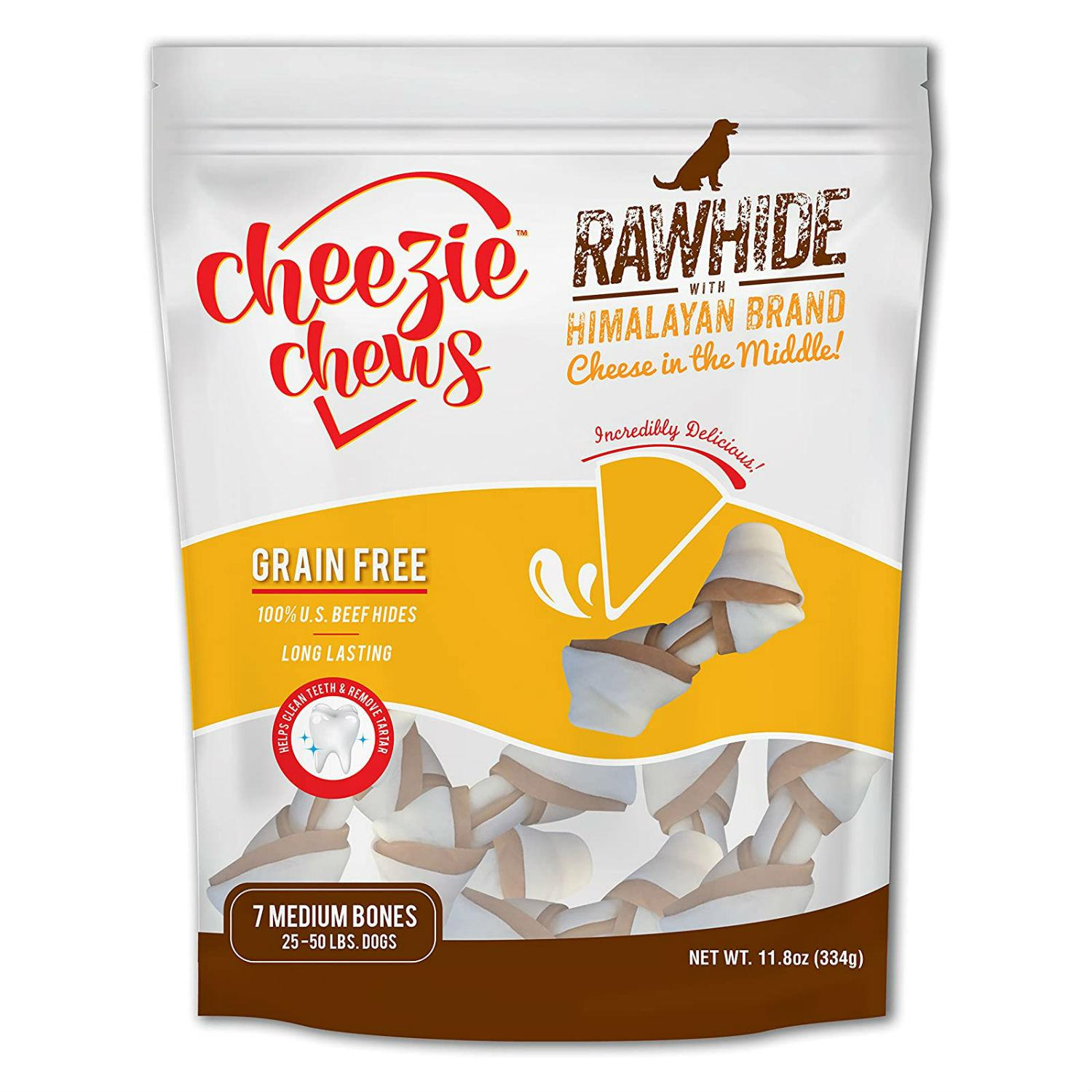 Cheezie Chews Knotted Rawhide with Himalayan Brand Cheese Chews Dog Treat - Medium