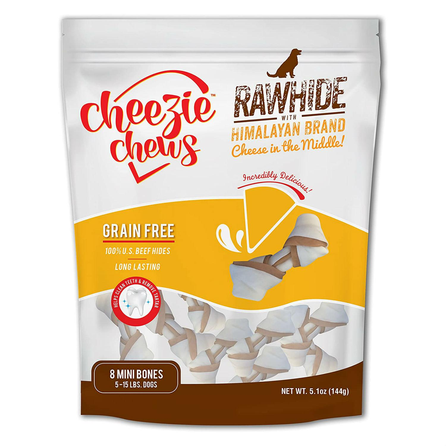 Cheezie Chews Knotted Rawhide with Himalayan Brand Cheese Chews Dog Treat - Mini