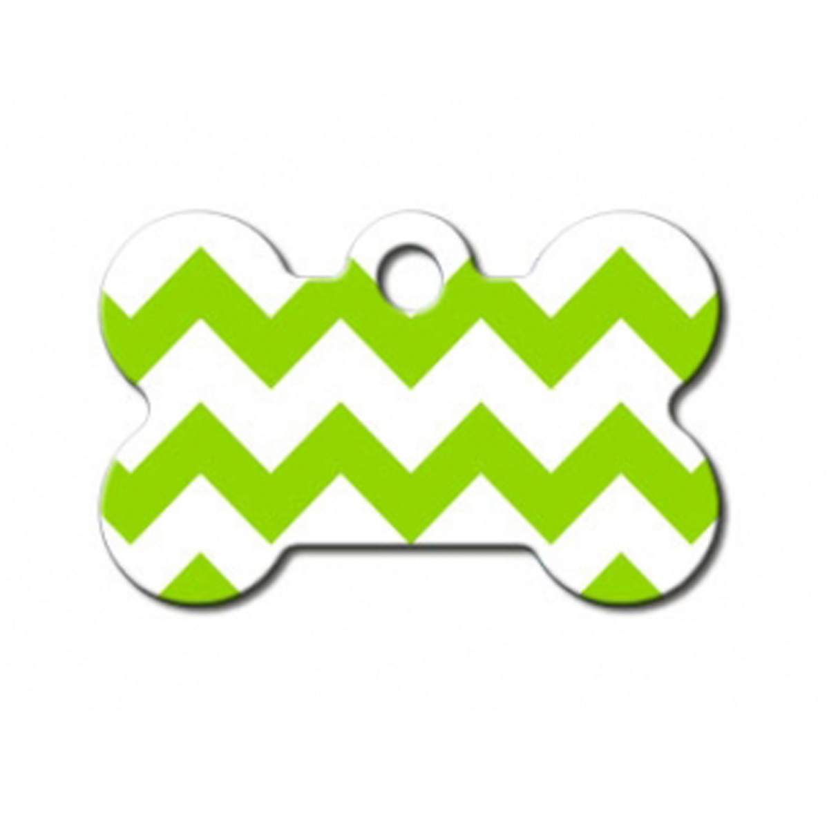 Chevron Bone Small Engravable Pet I.D. Tag - Green