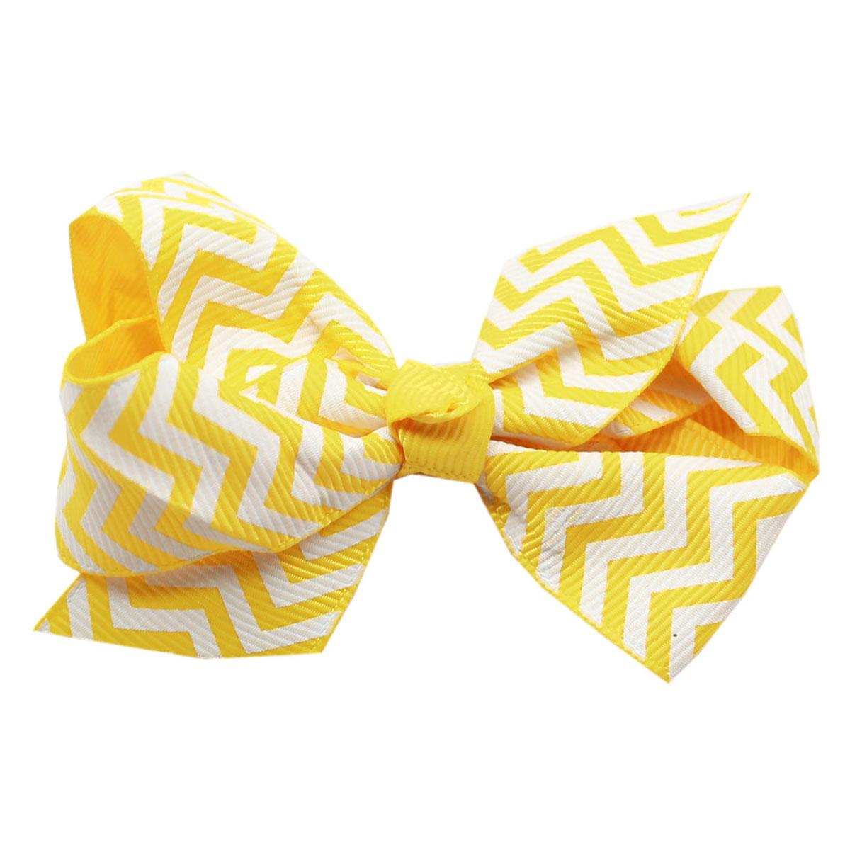 Chevron Dog Bow - Yellow