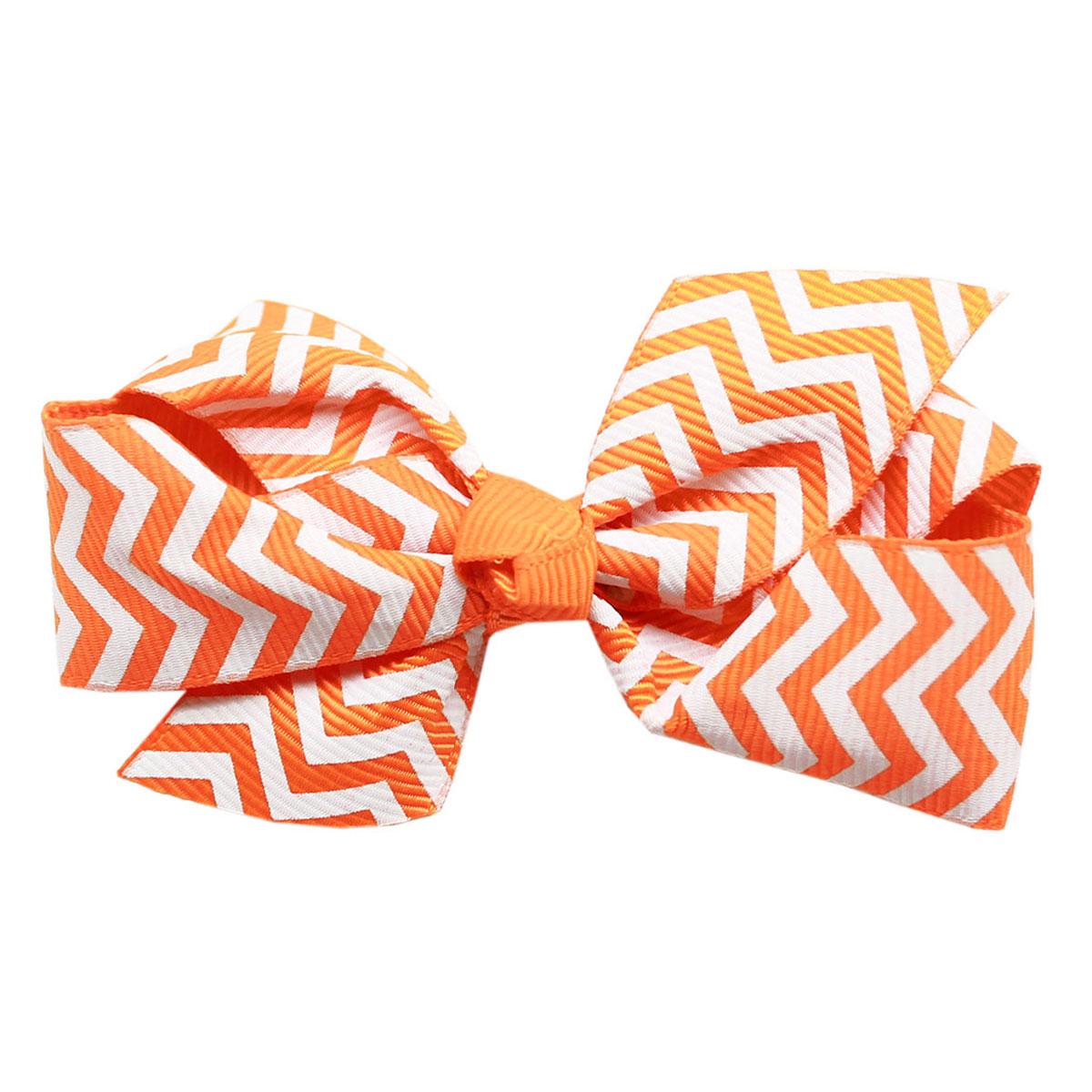 Chevron Dog Bow - Orange
