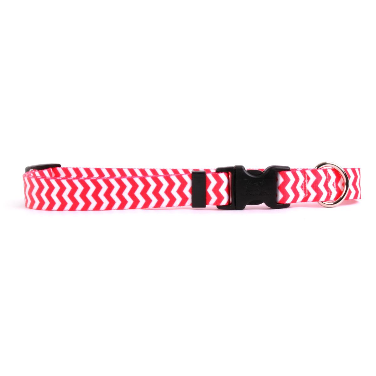 Chevron Dog Collar by Yellow Dog - Strawberry
