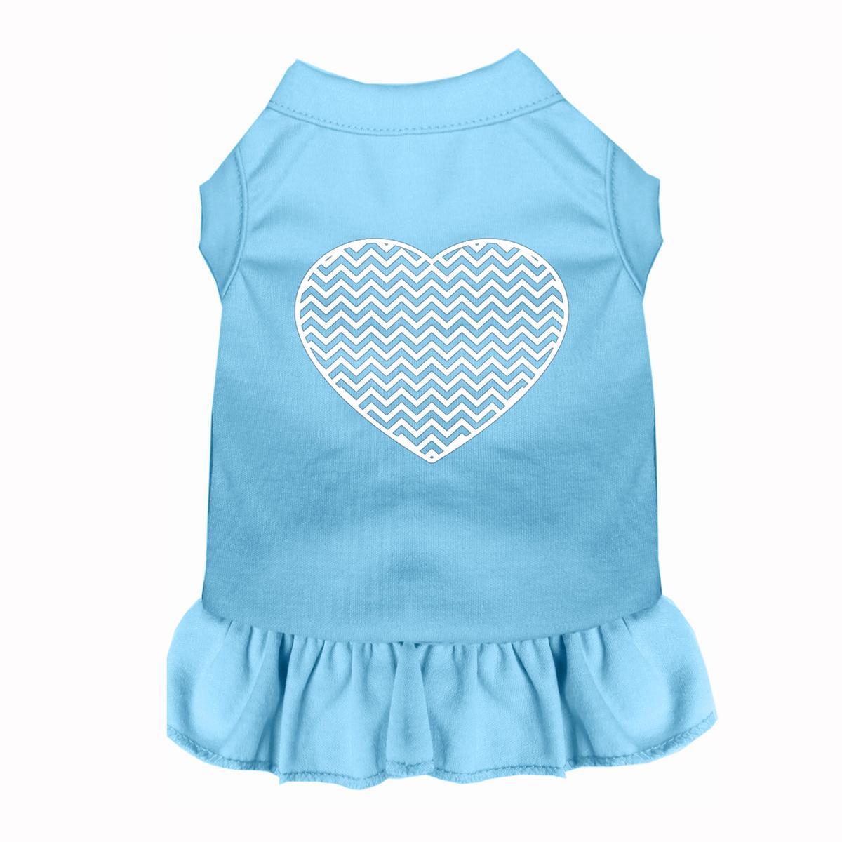 Chevron Heart Screen Print Dog Dress - Baby Blue