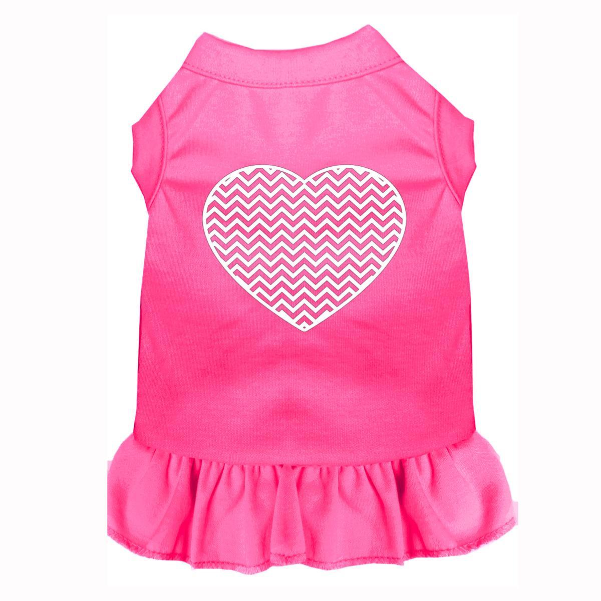 Chevron Heart Screen Print Dog Dress - Bright Pink
