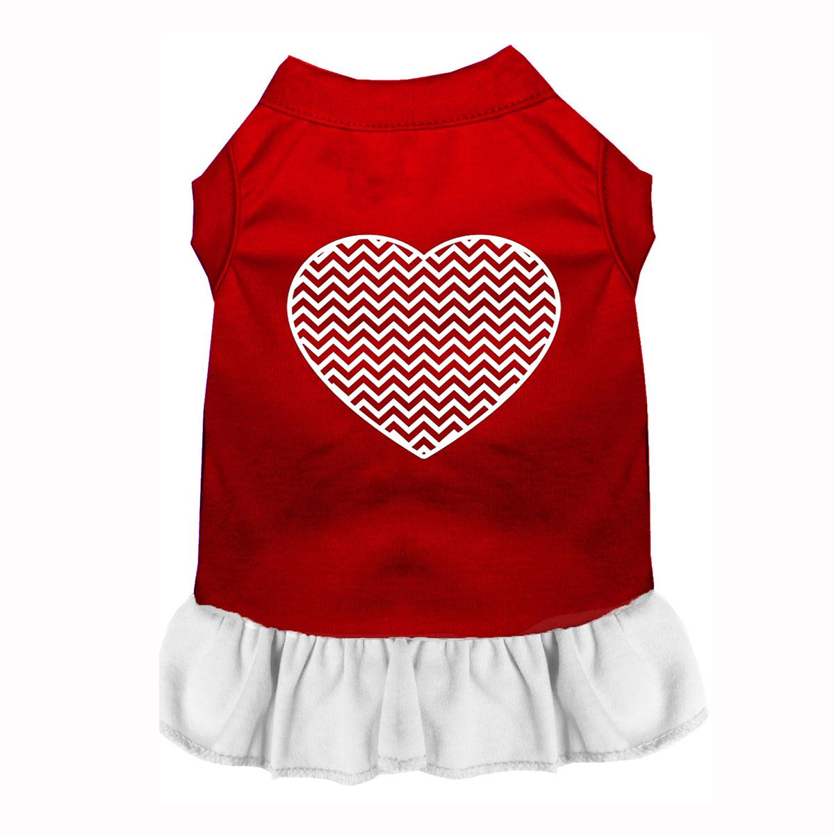 Chevron Heart Screenprint Dog Dress - Red with a White Skirt