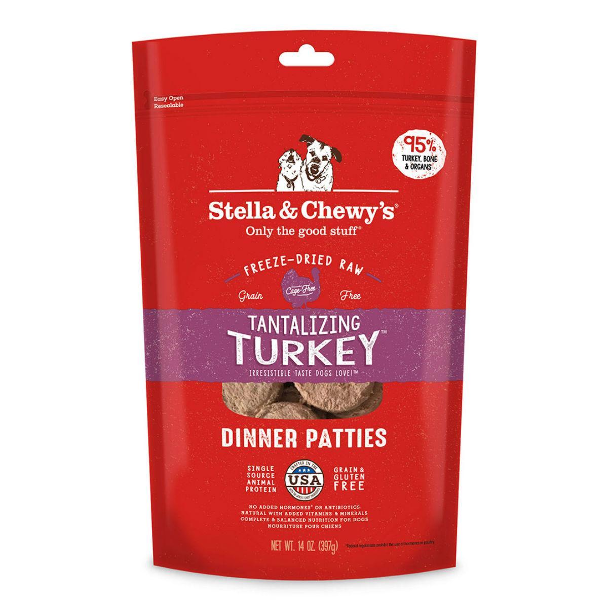 Stella & Chewy's Tantalizing Turkey Dinner Patties Dog Treat - Freeze Dried
