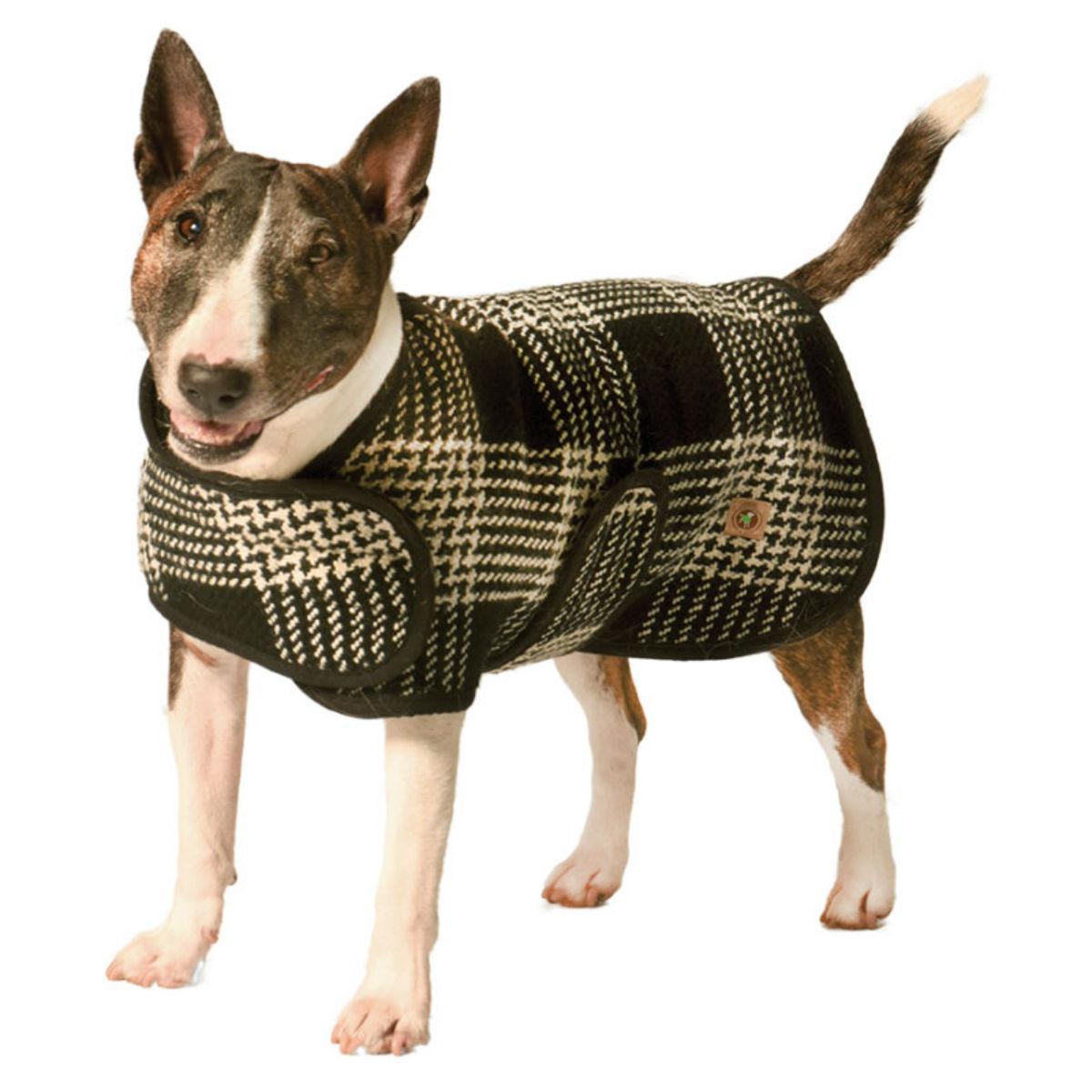 Chilly Dog Plaid Blanket Dog Coat - Black and White