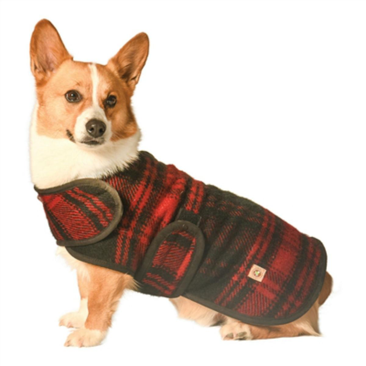 Chilly Dog Plaid Blanket Dog Coat - Red and Black