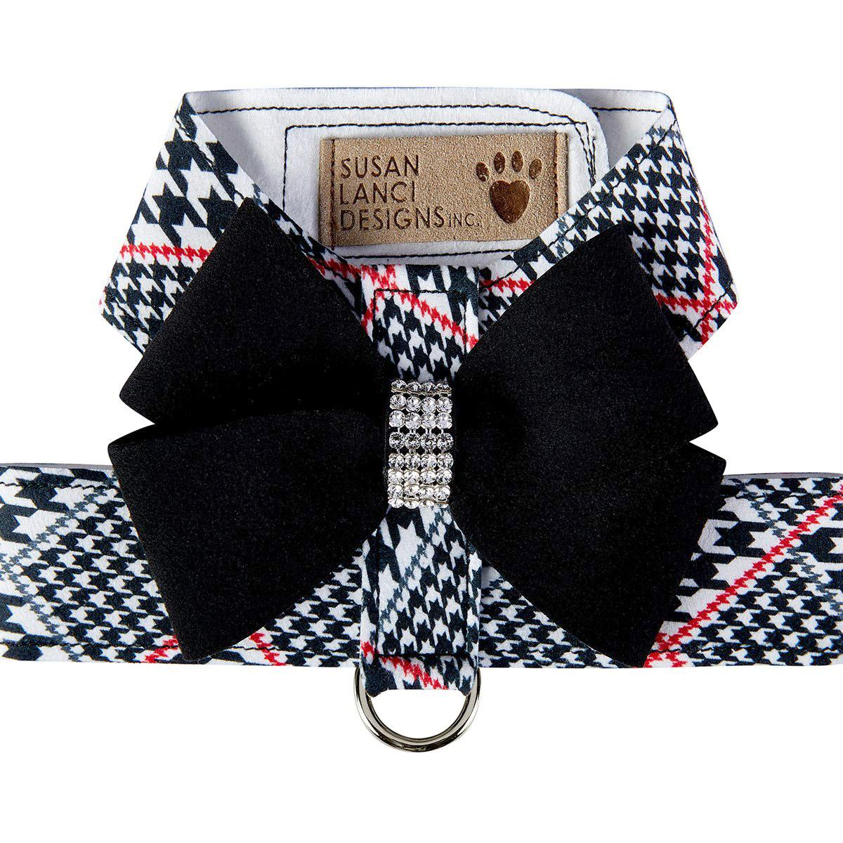 Classic Glen Houndstooth with Black Nouveau Bow Tinkie Dog Harness by Susan Lanci