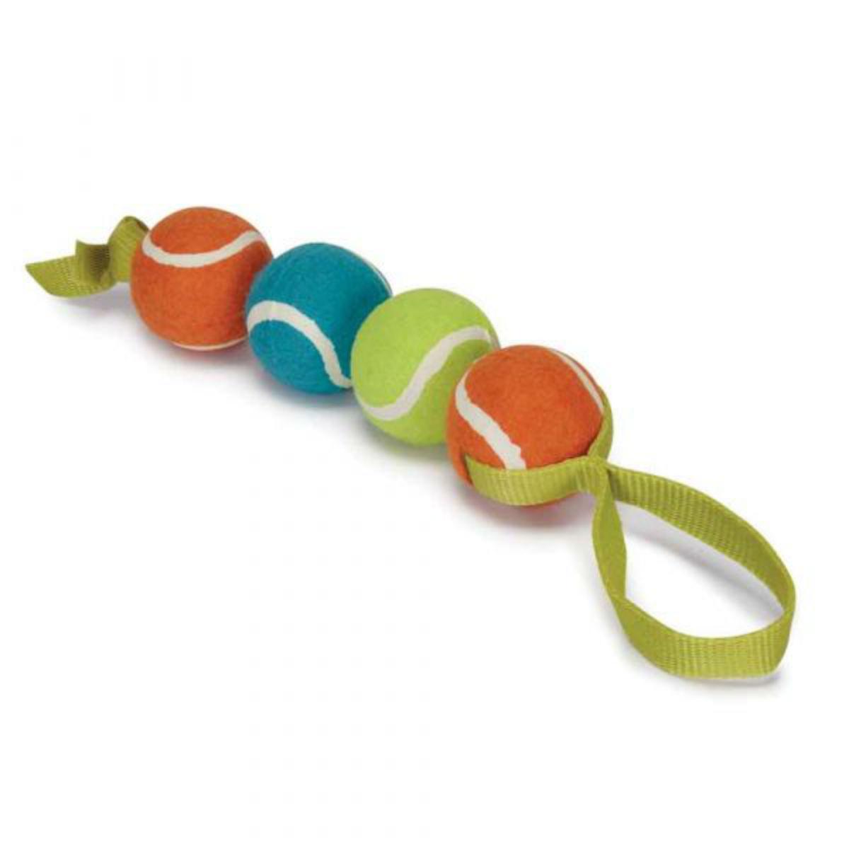 Chomper Four-Ball Nylon Tennis Tug Dog Toy