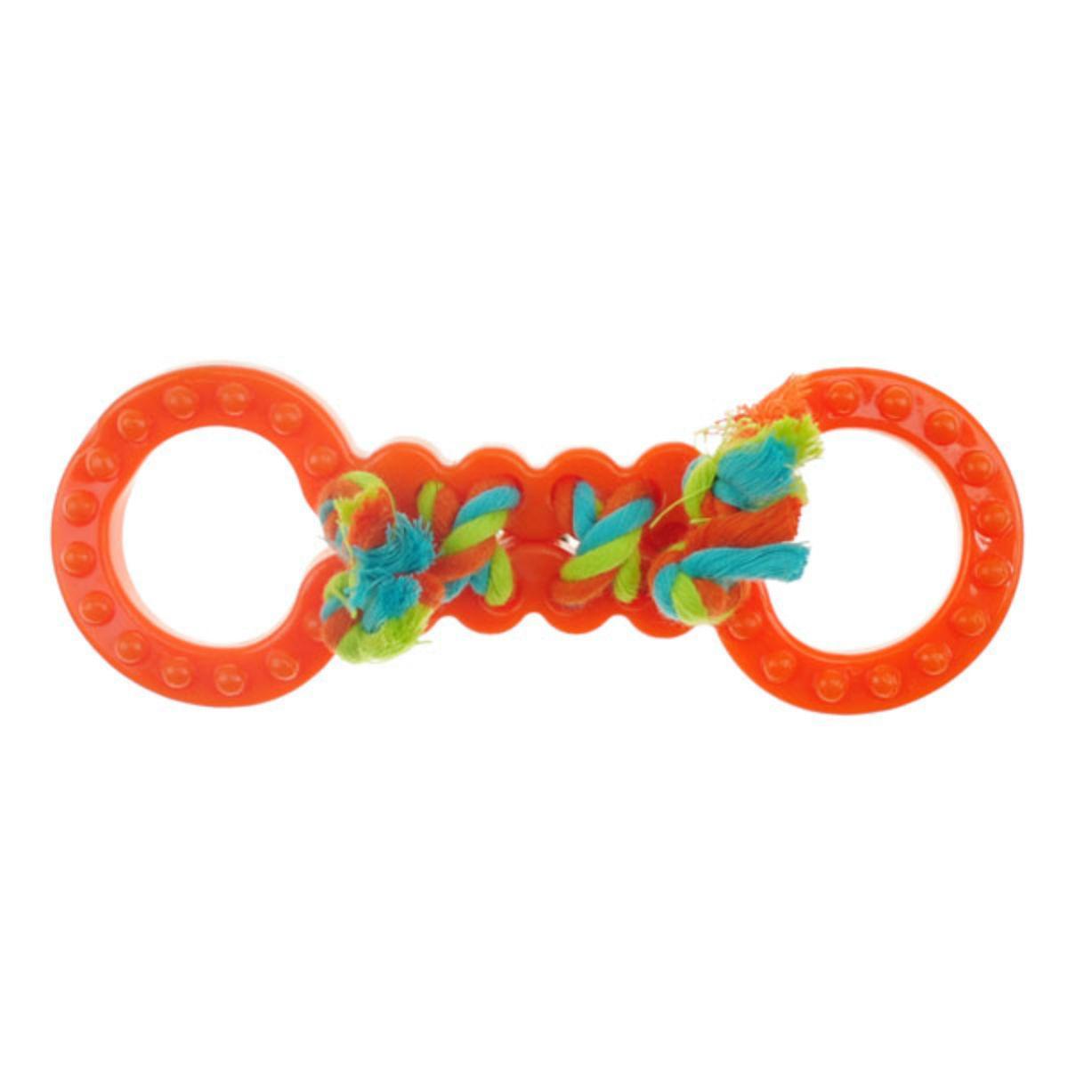 Chomper Mini TPR Figure 8's with Rope Dog Toy - Orange