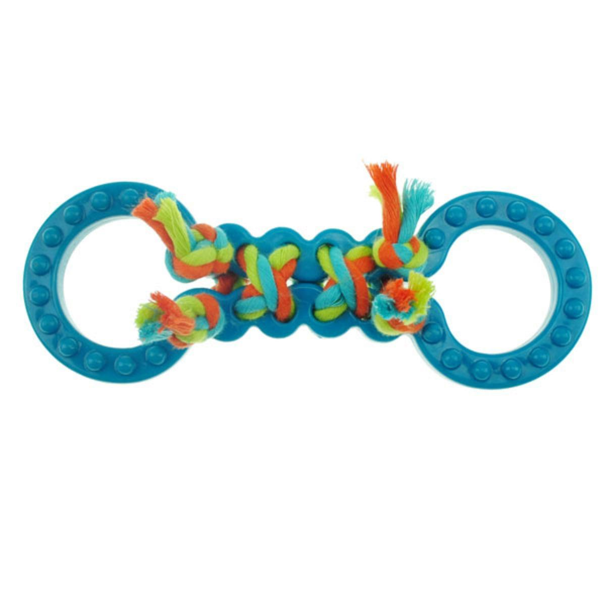 Chomper Mini TPR Figure 8's with Rope Dog Toy - Blue