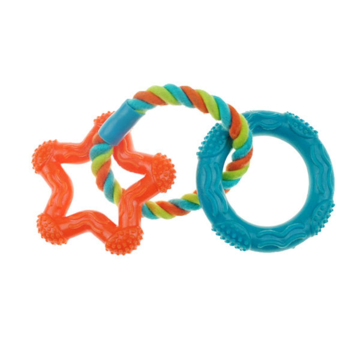Chomper Mini TPR Rope 'N Rings Dog Toy - Orange Star