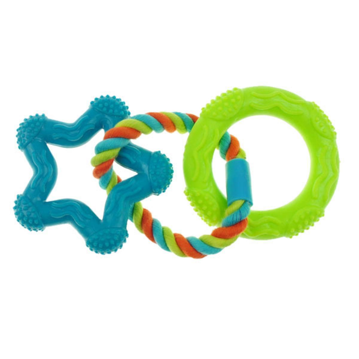 Chomper Mini TPR Rope 'N Rings Dog Toy - Blue Star