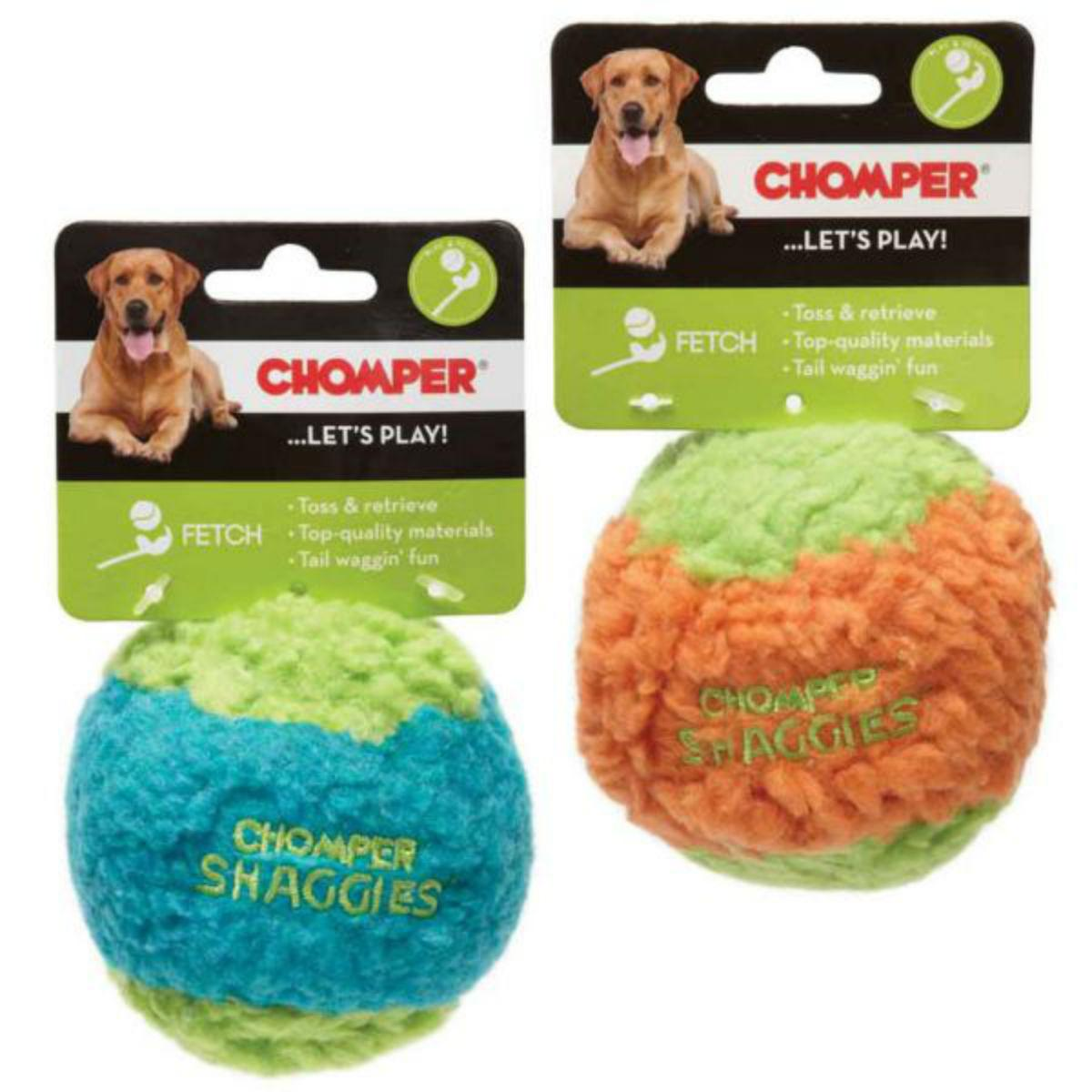Chomper Shaggies Rubber Squeaker Ball Dog Toy