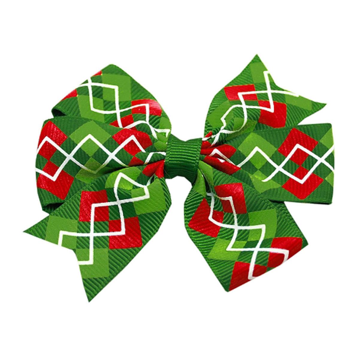 Christmas Argyle Pet Bow