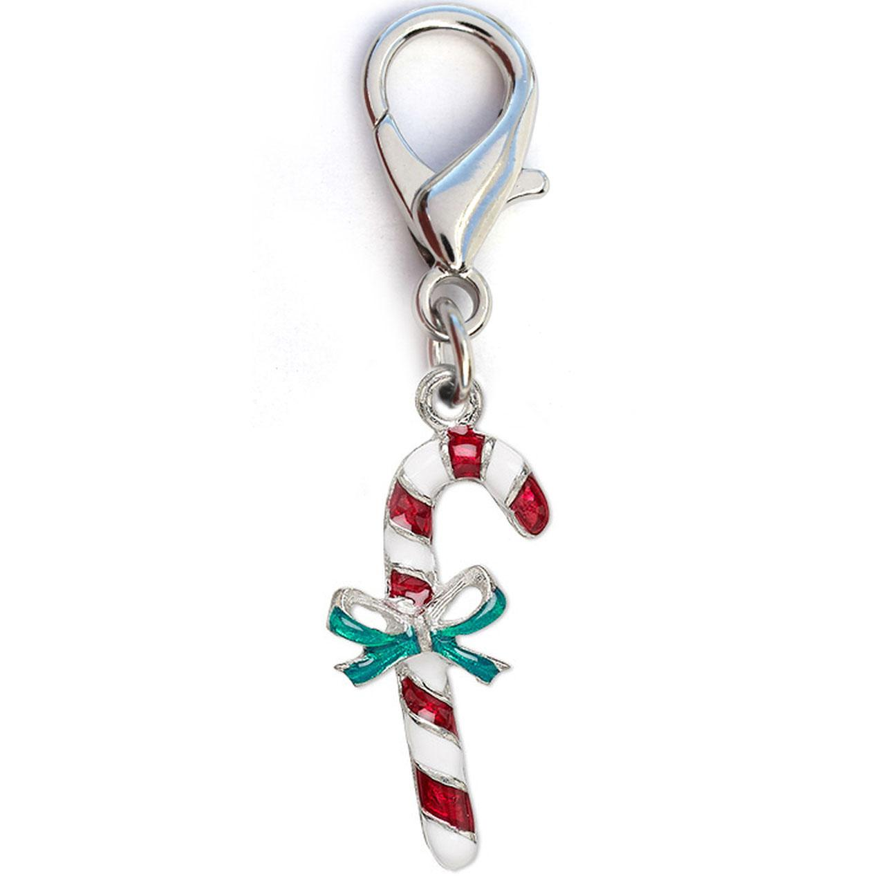 Christmas Candy Cane Dog Collar Charm by Diva Dog - Silver
