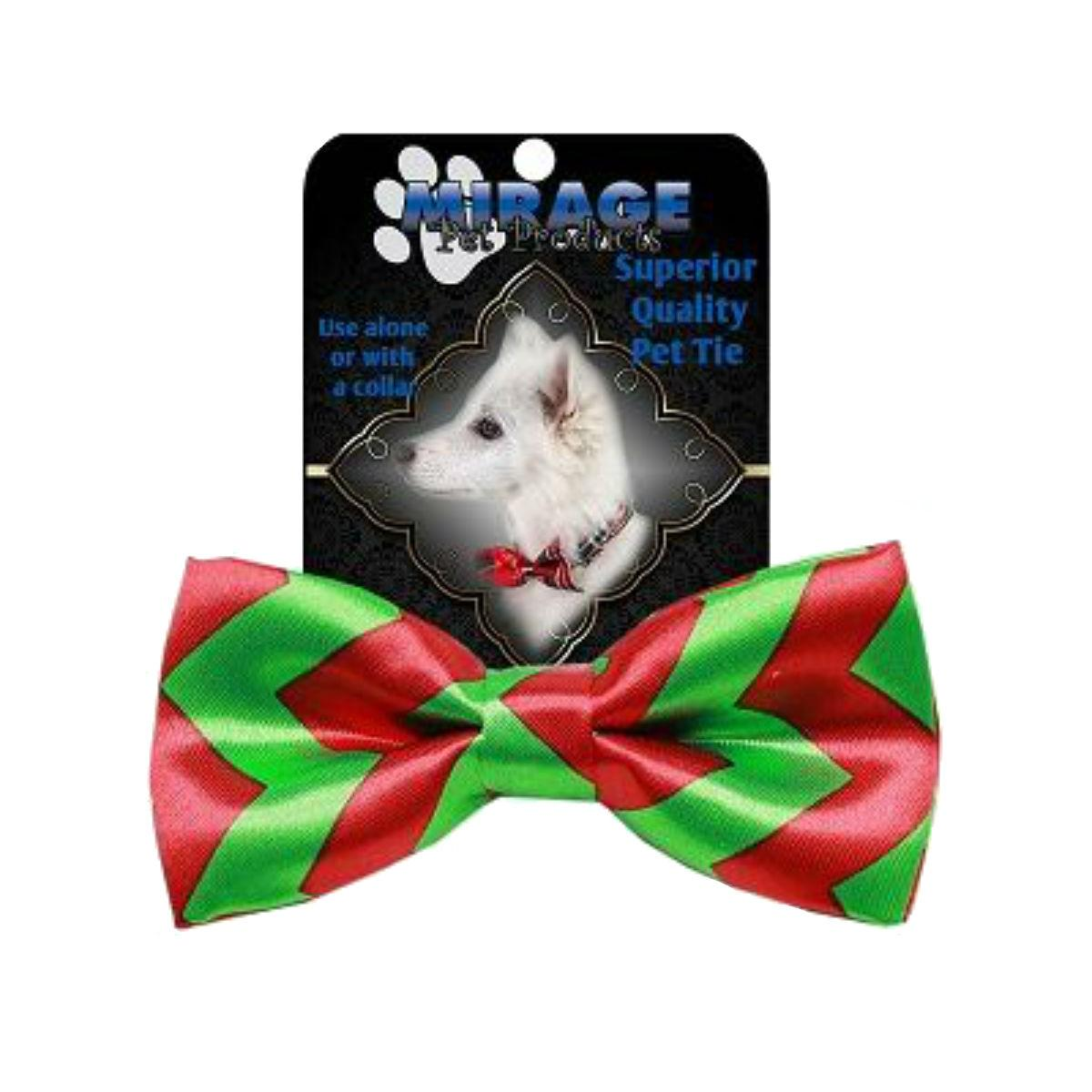 Mirage Christmas Chevron Dog Bow Tie